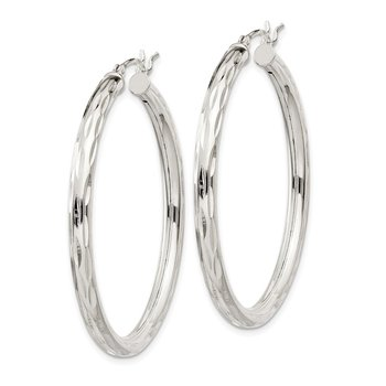 Sterling Silver Diamond-cut Satin 3x40mm Hoop Earrings