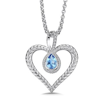 Sterling silver and blue topaz heart pendant