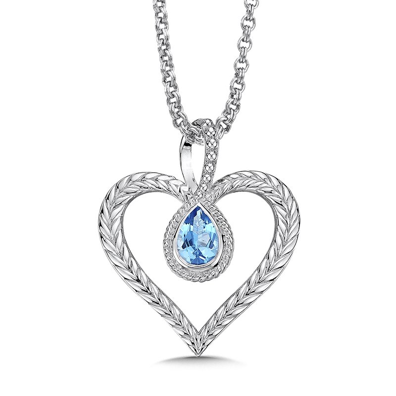 Colore Sg Sterling silver and blue topaz heart pendant