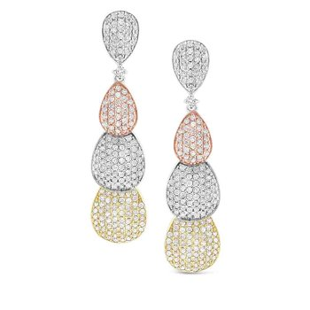 Diamond Triple Pear Drop Earring in 14K White, Rose and Yellow Gold with 338 Diamonds Weighing  2.16ct tw