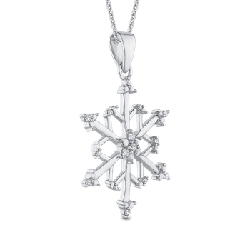 Sterling Silver Round White Diamond Snowflake Pendant with Chain (.14 cttw)