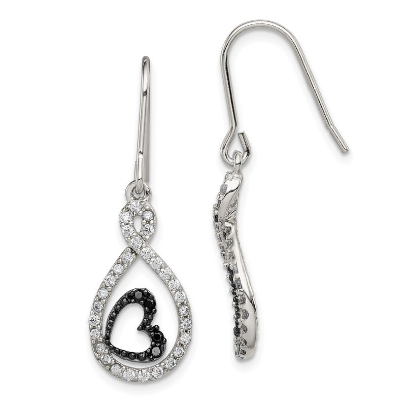 Quality Gold Sterling Silver Clear & Black CZ Twisted Teardrop Heart Earrings