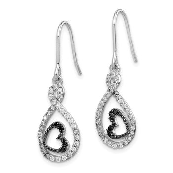 Sterling Silver Clear & Black CZ Twisted Teardrop Heart Earrings