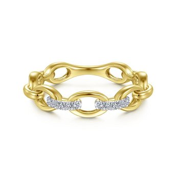 14K Yellow Gold Chainlink Diamond Ring