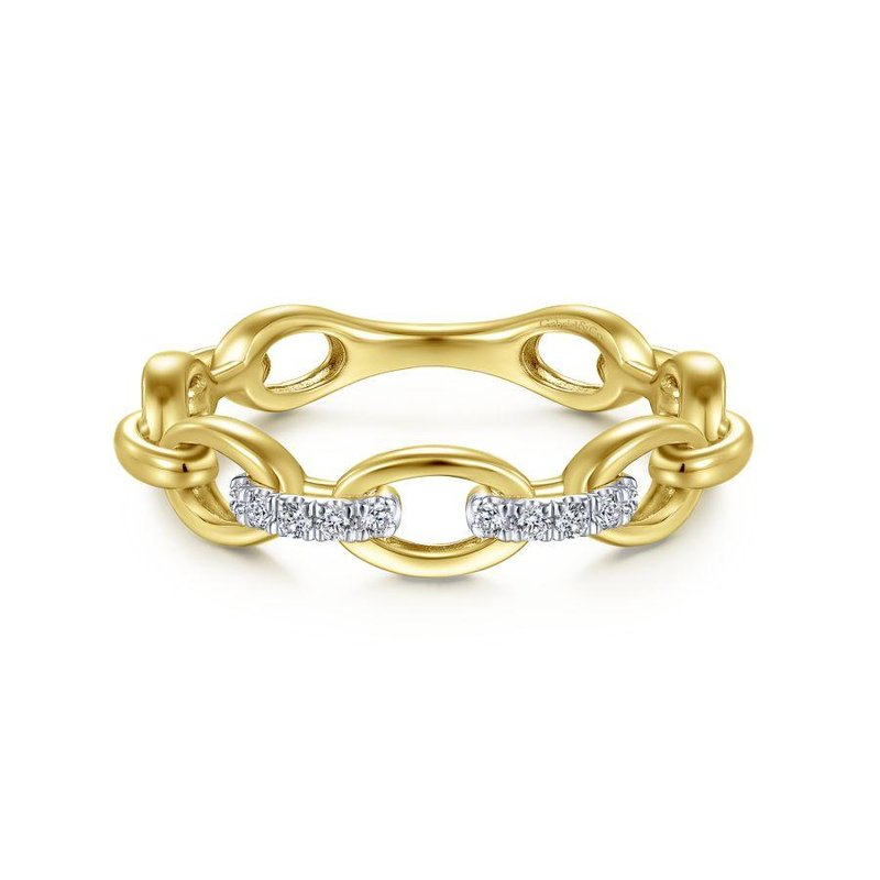 Gabriel Fashion 14K Yellow Gold Oval Chain Link Diamond Ring