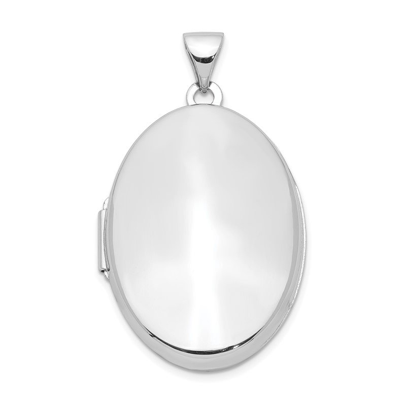Quality Gold Sterling Silver Rhodium-plated Polished 26mm 2-Frame Oval Locket