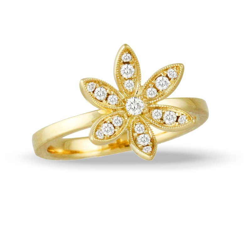 Doves Floral Diamond Ring 18KY