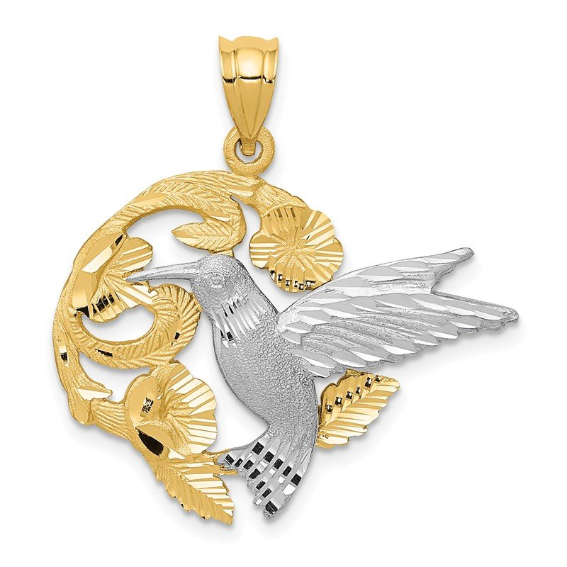 Quality Gold 14k Two-Tone Hummingbird Charm