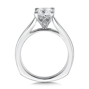 Solitaire mounting .02 tw., 1 1/4 ct. Princess center.