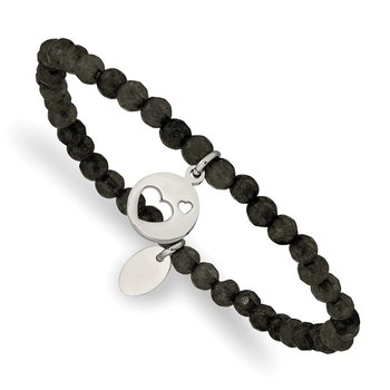 Stainless Steel Polished Hearts Black Jade Beaded Stretch Bracelet