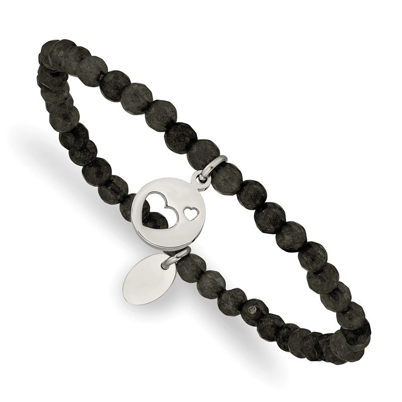 Chisel Stainless Steel Polished Hearts Black Jade Beaded Stretch Bracelet
