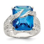 Quality Gold Sterling Silver Blue & Clear CZ Ring