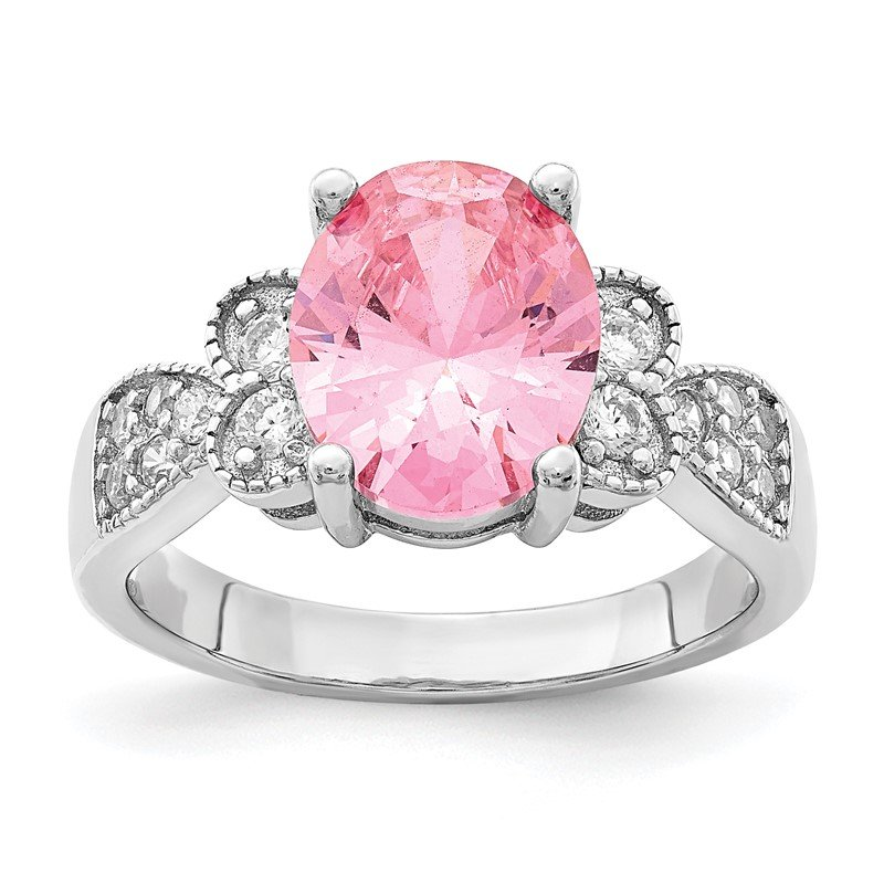 Arizona Diamond Center Collection Sterling Silver Pink Oval CZ Ring