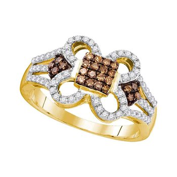 10kt Yellow Gold Womens Round Cognac-brown Color Enhanced Diamond Quatrefoil Square Cluster Ring 1/2 Cttw