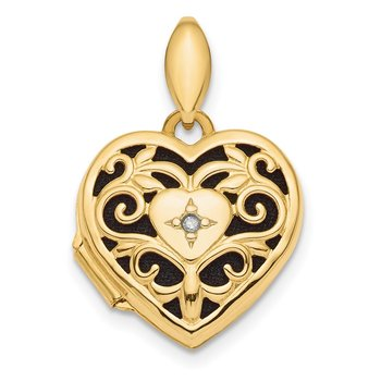 14k Polished Filigree Diamond Heart Locket