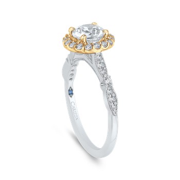 18K Two-Tone Gold Round Diamond Halo Vintage Engagement Ring (Semi-Mount)