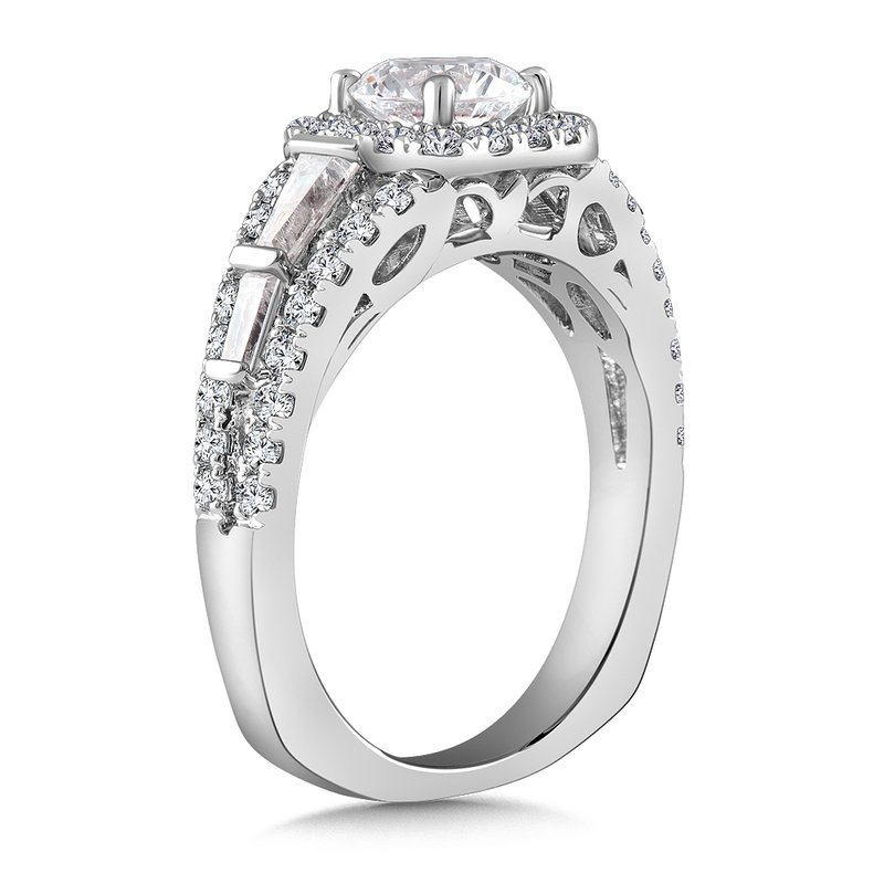 Diamond Halo Engagement Ring Mounting in 14K White Gold with Platinum Head (.71 ct. tw.)