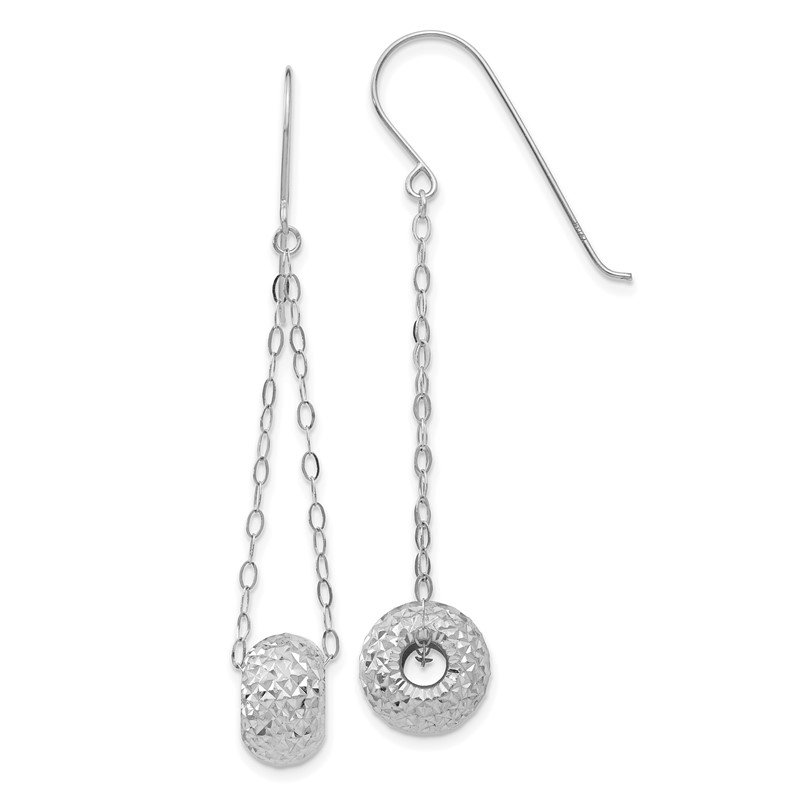 Quality Gold 14K White Gold Chain w/Diamond-cut Puff Donut Bead Earrings