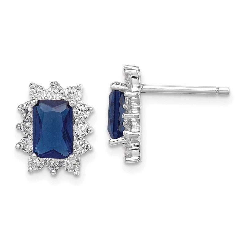 Quality Gold Sterling Silver Dark Blue and Clear CZ Earrings