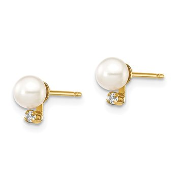 14K Madi K 4-5mm White Round FW Cultured Pearls CZ Post Earrings