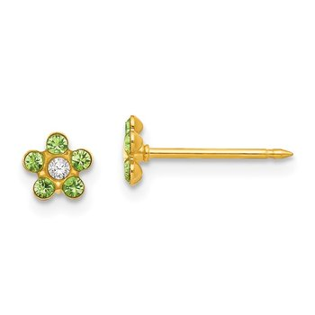 Inverness 14k August Lt Green Crystal Birthstone Flower Earrings