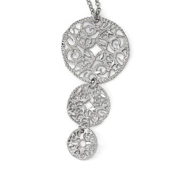 Leslie's Sterling Silver Textured w/1.5in ext. Necklace