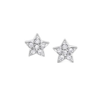 Diamond Star Earrings in 14k White Gold with 12 Diamonds weighing .07ct tw.