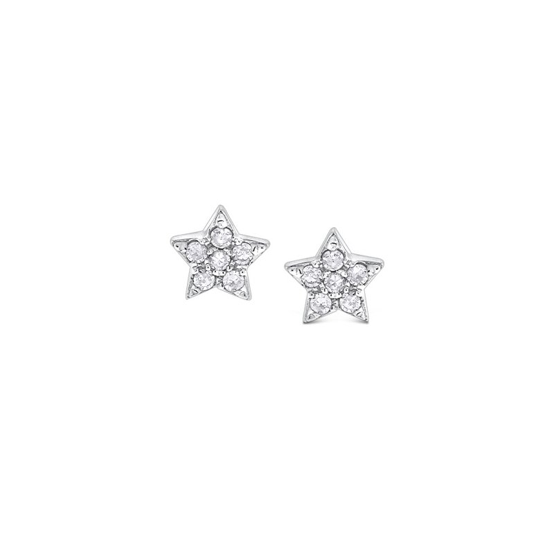KC Designs Diamond Star Earrings in 14k White Gold with 12 Diamonds weighing .07ct tw.