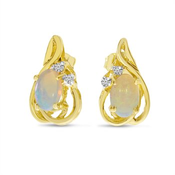 14k Yellow Gold Oval Opal And Diamond Teardrop Earrings