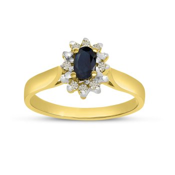 10k Yellow Gold Oval Sapphire And Diamond Ring