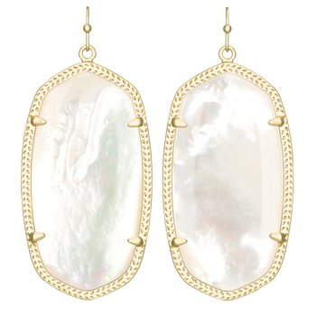 Danielle Gold Drop Earrings In Ivory Mother Of Pearl