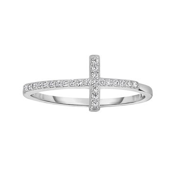 Silver CZ Side Cross Ring