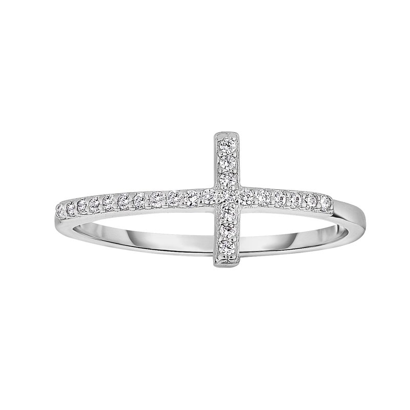 Royal Chain Silver CZ Side Cross Ring