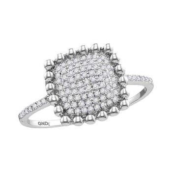 10kt White Gold Womens Round Diamond Beaded Square Cluster Ring 1/6 Cttw