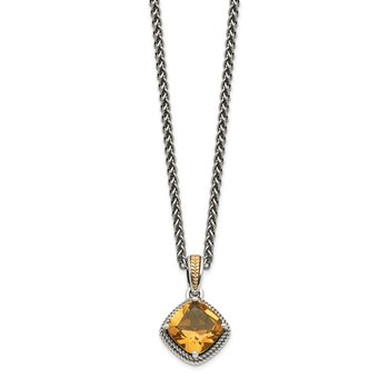 Sterling Silver w/14k Antiqued Citrine Necklace