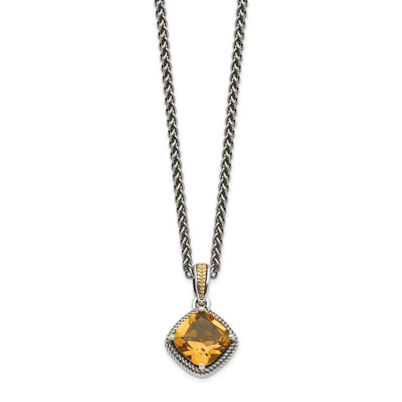 Quality Gold Sterling Silver w/14k Antiqued Citrine Necklace
