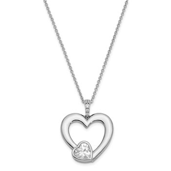 Sterling Silver CZ Antiqued Mother Of The Groom 18in. Necklace