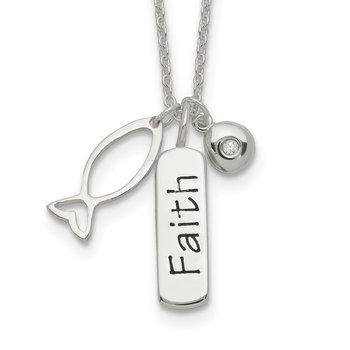 Sterling Silver Polished CZ FAITH Ichthus Charm w/1 in ext Necklace