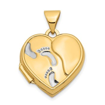 14ky w/ White Rhodium 15mm Heart Foot Prints Locket