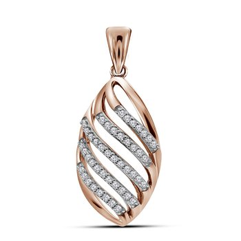 10kt Rose Gold Womens Round Diamond Oval Cascading Stripe Fashion Pendant 1/6 Cttw
