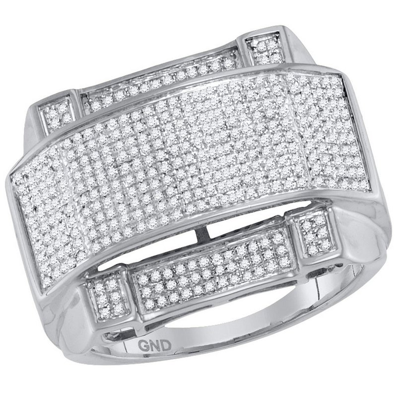 Gold-N-Diamonds, Inc. (Atlanta) 10kt White Gold Mens Round Diamond Arched Rectangle Cluster Ring 5/8 Cttw