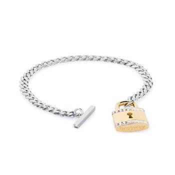 316L stainless steel with padlock pendant, gold PVD and Swarovski® Elements crystals.