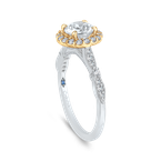 Carizza 14K Two-Tone Gold Round Diamond Halo Vintage Engagement Ring (Semi-Mount)