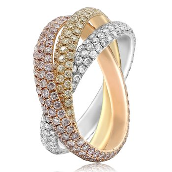 Tri-Colored Interlocking Diamond Ring