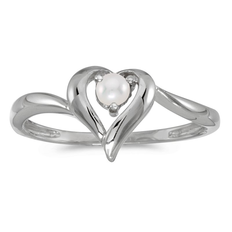 Color Merchants 10k White Gold Freshwater Cultured Pearl Heart Ring