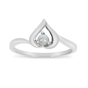 10k White Gold Freshwater Cultured Pearl Heart Ring