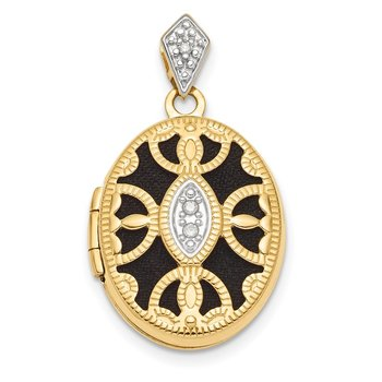 14k w/Rhodium Polished and Textured Diamond Fancy Oval Locket