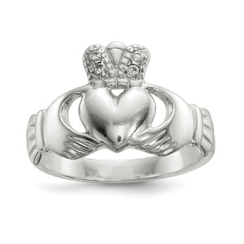 Sterling Silver Polished CZ Claddagh Ring
