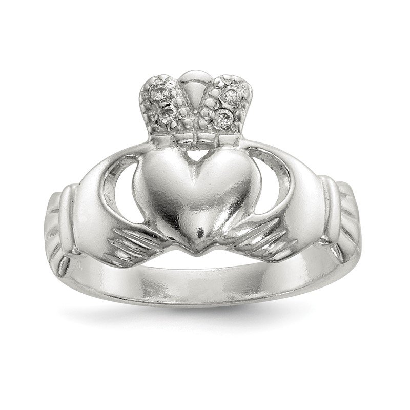 Quality Gold Sterling Silver Polished CZ Claddagh Ring