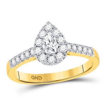 14kt Yellow Gold Womens Pear Diamond Solitaire Bridal Wedding Engagement Ring 1/5 Cttw
